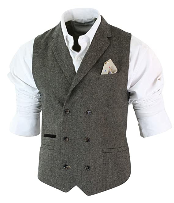 58c4ddf9ff8b Mens Herringbone Tweed Gatsby Peaky Blinders Classic Double Breasted  Waistcoat: Amazon.co.uk: Clothing