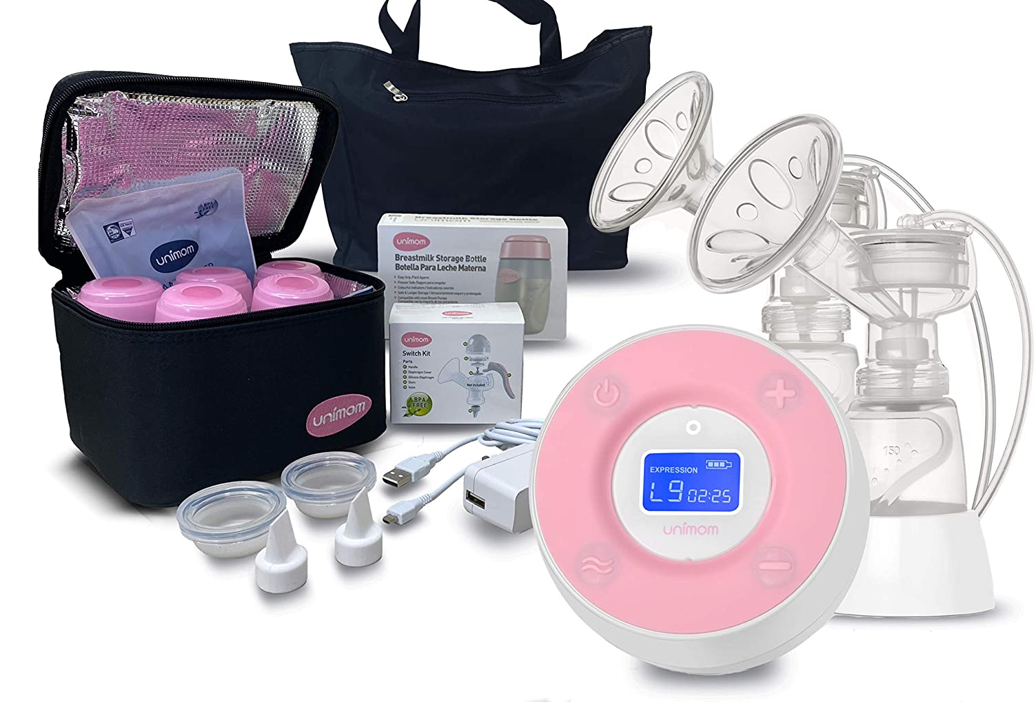 Unimom Double Electric Breast Pump – Minuet Bundle Pack with Cooler and Bottles and swicth kit - Touch LCD Display – by Unimom