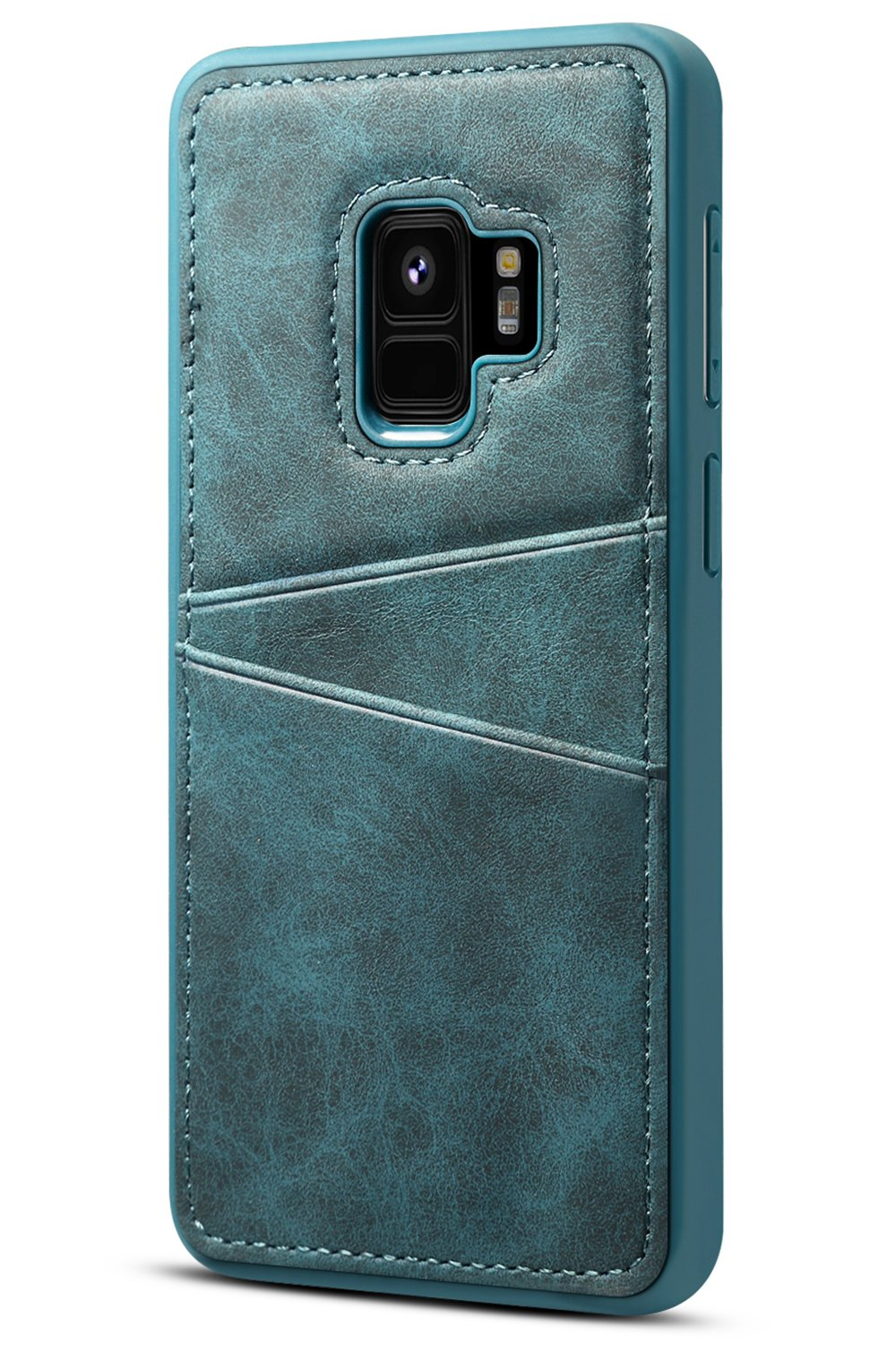Galaxy S9 Wallet Case SAVYOU Slim Vintage Synthetic Leather Card Case with 2 Card/ID Holder Slots Simple Professional Executive Snap On Cover Blue
