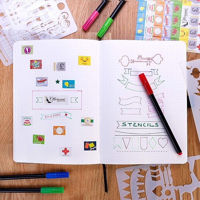 Sarcelle Carnet de Notes Bullet Carnet Pointill/é Journal The Essential de Ottergami Pochoirs et Autocollants Bonus