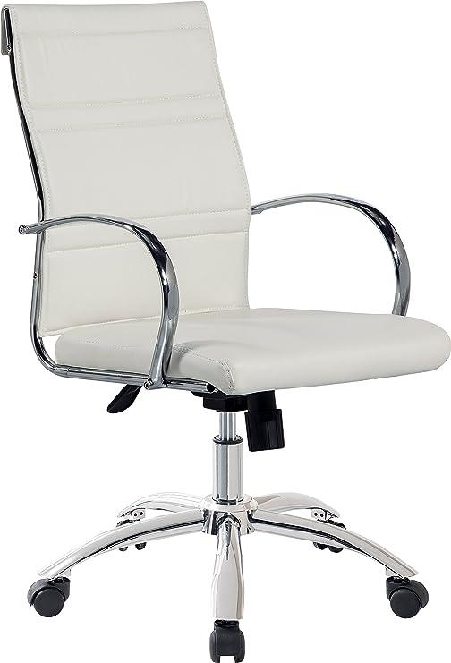 Sillón silla de oficina blanca regulable y giratoria de polipiel ...