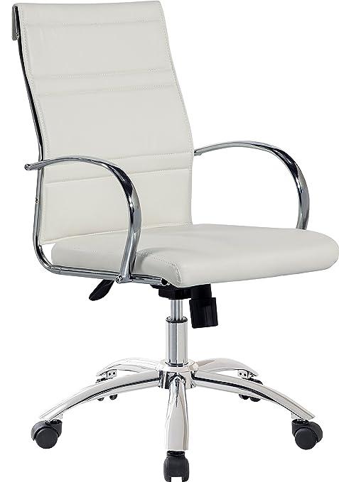 Sillón silla de oficina blanca regulable y giratoria de polipiel con ruedas. 60x95 o 103cm