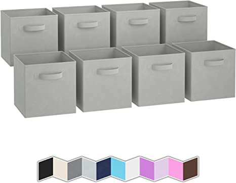 Gray Foldable Cloth Storage Cube Basket Bin Organizer Containers Drawer
