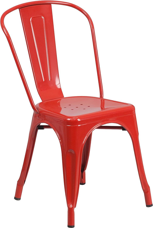 Flash Furniture Red Metal Indoor-Outdoor Stackable Chair