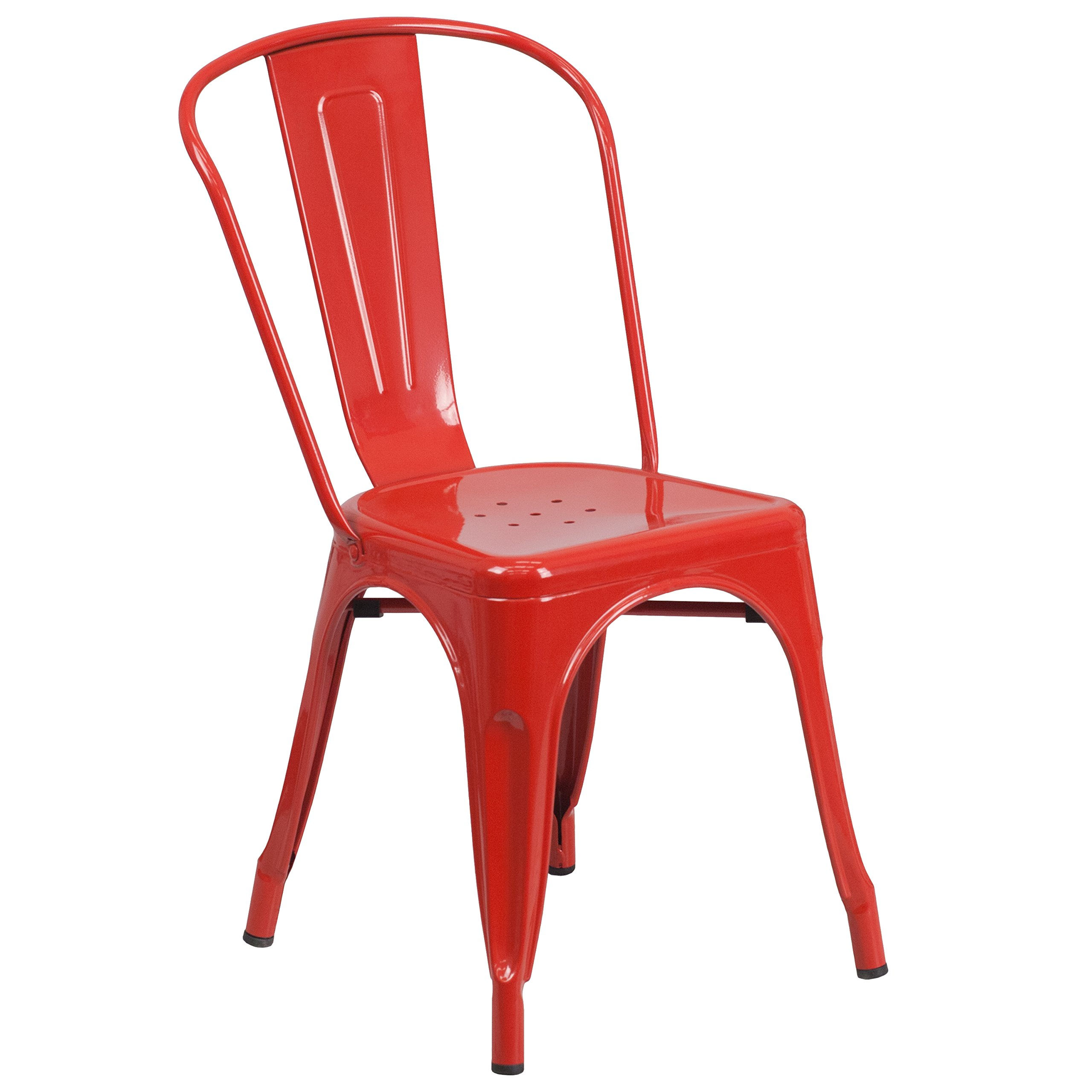 Flash Furniture Red Metal Indoor-Outdoor Stackable Chair by Flash Furniture