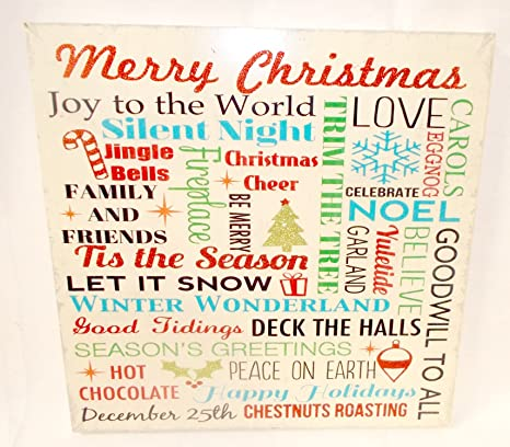 christmas words cream red green wall art wood hanging decor 13 nwt