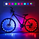Upgraded 2-Pack Waterproof Color Changing LED Bike Wheel Lights with Batteries and Spoke Clips, 7 Colors 4 Modes and…