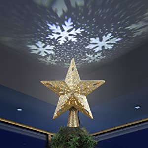 Brizled Gold Christmas Tree Topper Lighted with Cool White Snowflake Projector, 3D Glitter Hollow Star Xmas Tree Topper, LED Christmas Treetop Projector Lights for Xmas Home Tree Holiday Party Decor