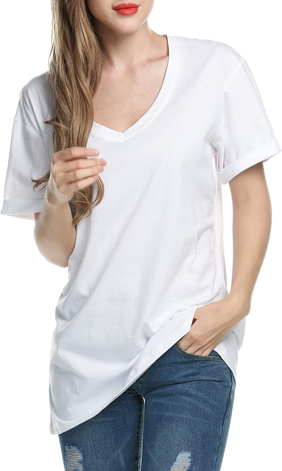 Meaneor Women's Casual V-Neck Roll Over Short Sleeve Solid Loose T-Shirt Blouse White