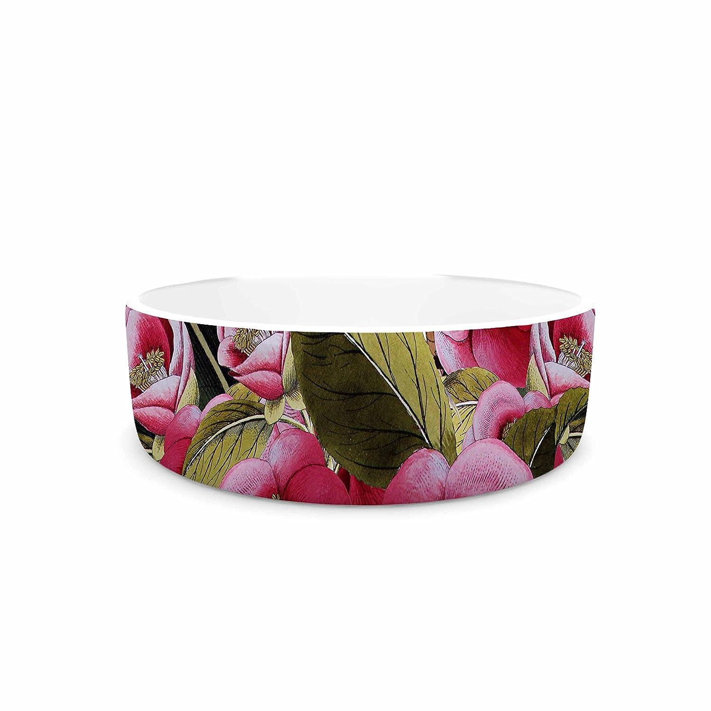 KESS InHouse Tobe Fonseca Spring Pattern Chevron Pink Multicolor Mixed Media Pet Bowl, 4.75  Diameter