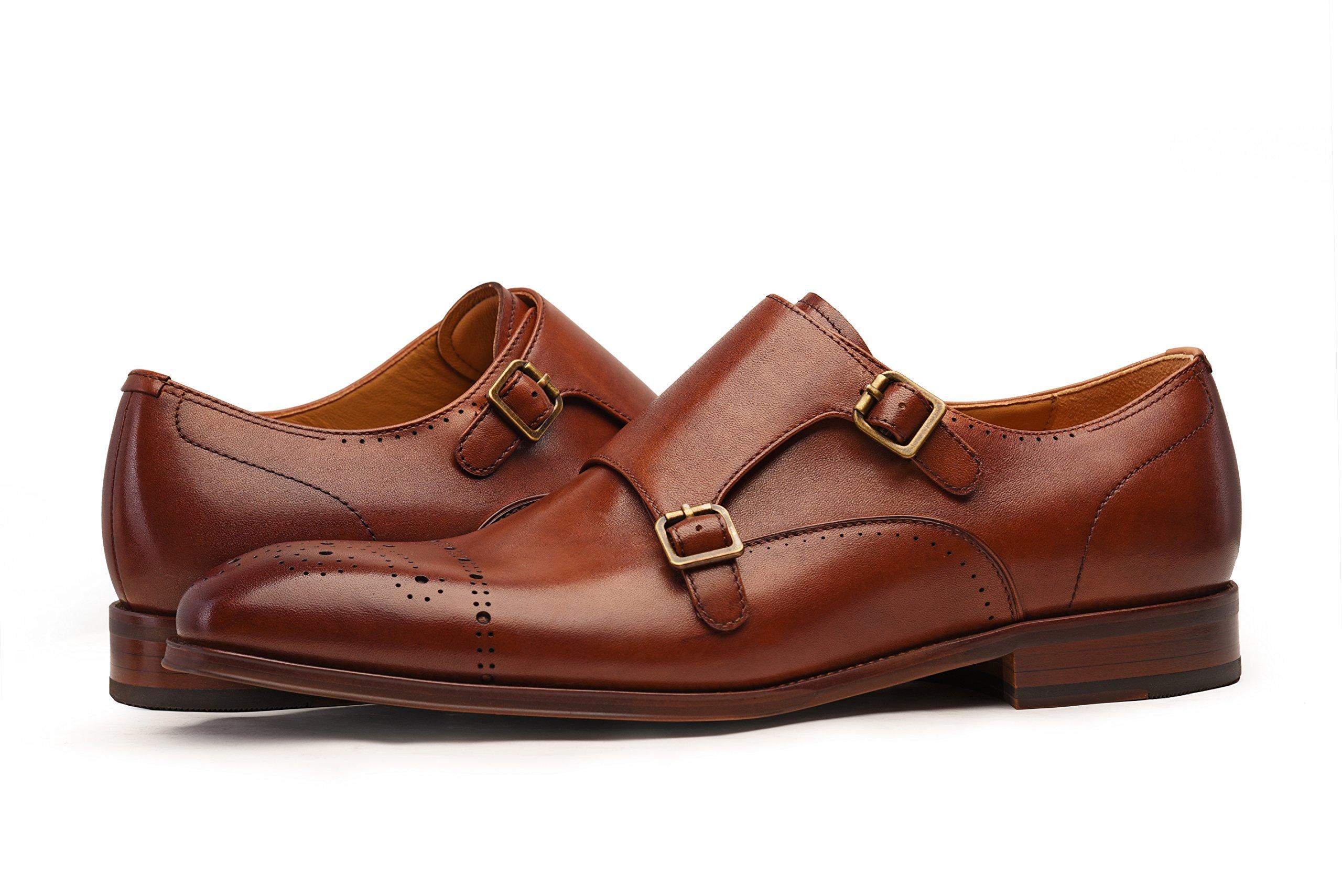 COMOTEK Men's Classic Double Monk Strap Full Grain Leather Shoes,2018 Design-Adroit Tans US10.5