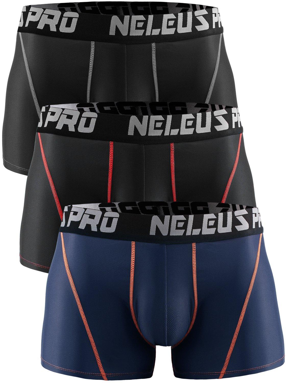 Neleus Men's 3 Pack Brief Mesh Sport Athletic Underwear,6003,Black,Red Stripe,Navy Blue,US L,EU XL
