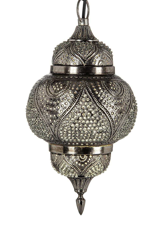 Orientalische Messing Lampe Pendelleuchte Silber Farhana 38cm E27 Lampenfassung | Marokkanische Design Hängeleuchte Leuchte | Orient Lampen für Wohnzimmer, Küche oder Hängend über den Esstisch