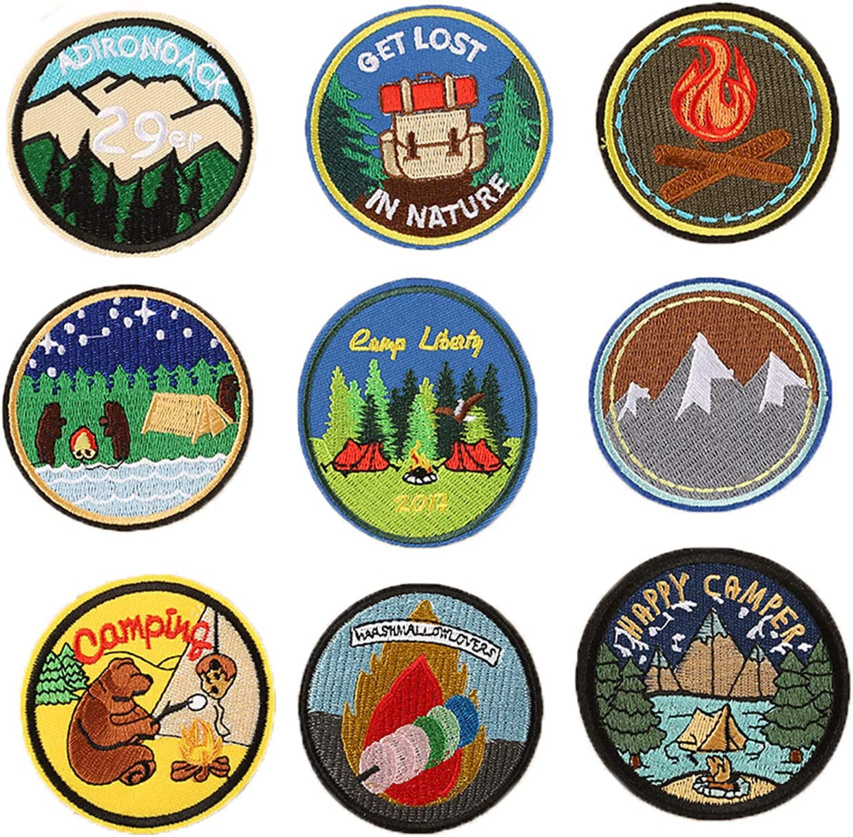 Military Ba 9 PCS Embroidered Sew On/Iron on Patch Personalized Travel Camping Bear Get Lost in Nature Mountain Patches Designed for Shirts Jackets Jeans and Backpacks