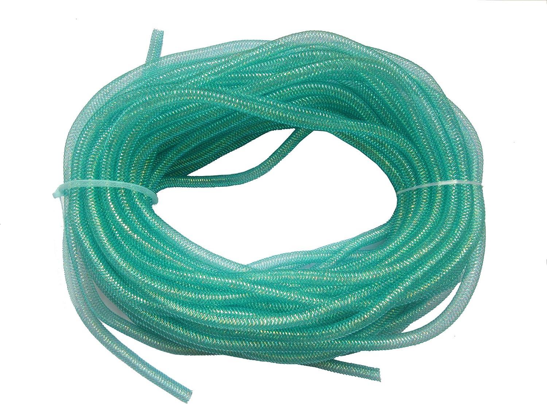 Aqua YYCRAFT One Roll 30 Yards Solid Mesh Tube Deco Flex for Wreaths Cyberlox CRIN Crafts 8mm 3//8-Inch