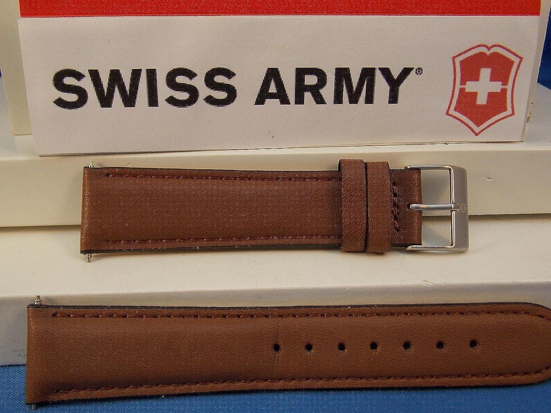 Swiss Army Watch Bandフィールド20 mmブラウンレザーロゴバックル。ステッチとパッド入り  B01K5MBKWE