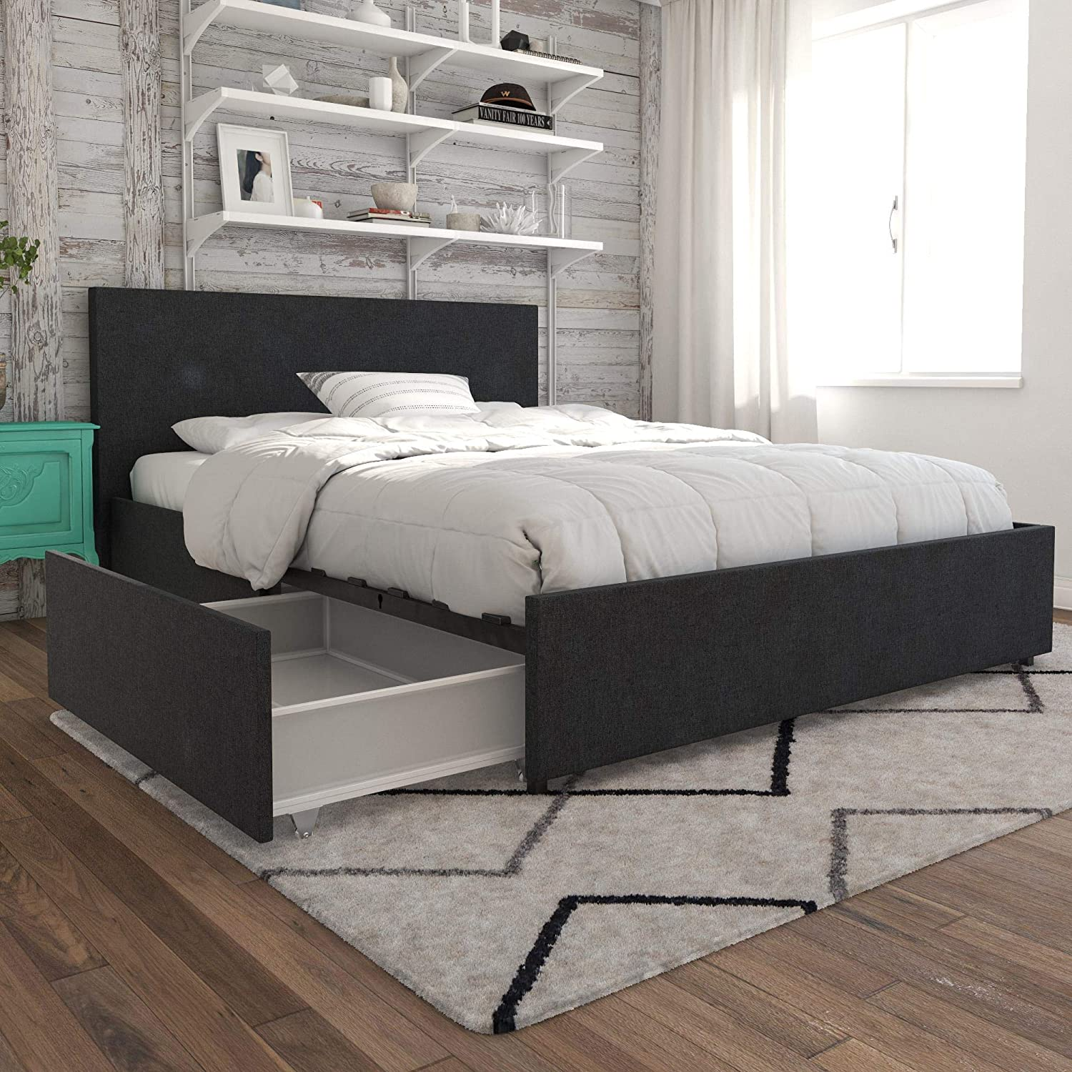Novogratz 4296439N Kelly Bed with Storage, Queen, Dark Gray Linen