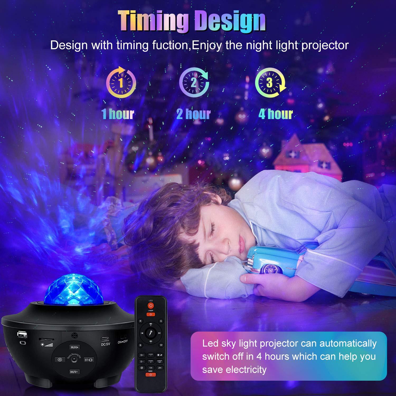 Sternenlicht Projektor LED Sternenhimmel Projektor Fernbedienung 10-Farben-Ambiente mit Bluetooth-Musiklautsprecher f/ür Babykinder Schlafzimmer f/ür Erwachsene Geburtstag Tiefschlaf