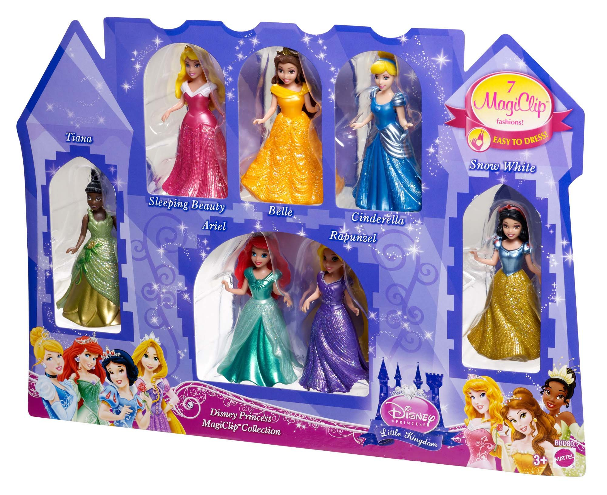 Disney Princess Little Kingdom Magiclip 7-Doll Giftset (Discontinued by manufacturer) by Mattel (Image #3)