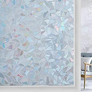 Haton Window Film Privacy One Way Window Cling, 3D Decorative Glass Film, Daytime Privacy Window Decal Heat UV Block Window Cover, Static Cling Window Sticker, Grayish Silver, 17.5 x 78.7inches