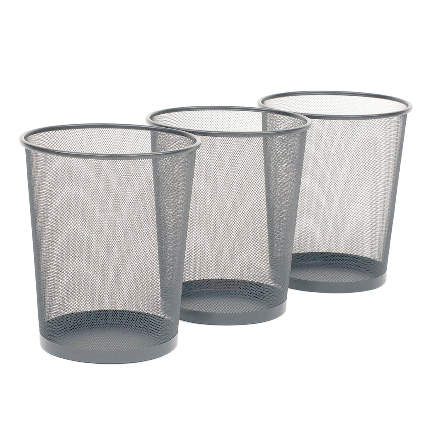 Seville Classics 3-Pack Round Mesh Wastebasket Recycling Bin, 6 Gal, 12'' Diameter Top x 14'' H, Silver by Seville Classics