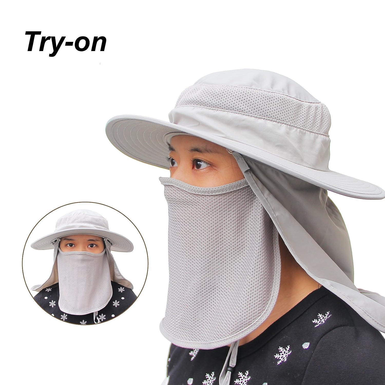 SHARK ARMY Sombrero Caza Gorro Al Aire Libre Sombrero de Sol con Cuello Cara Protecci/ón UV para Acampar Excursiones Aventuras para Hombre y Mujer MHB011