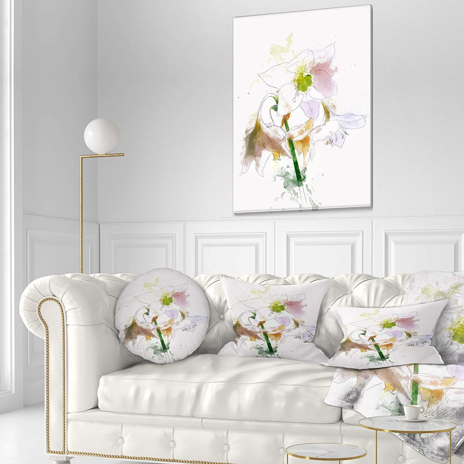 in x 20 in Designart CU13706-12-20 Large Petal Watercolor Flower Sketch Floral Lumbar Cushion Cover for Living Room Sofa Throw Pillow 12 in