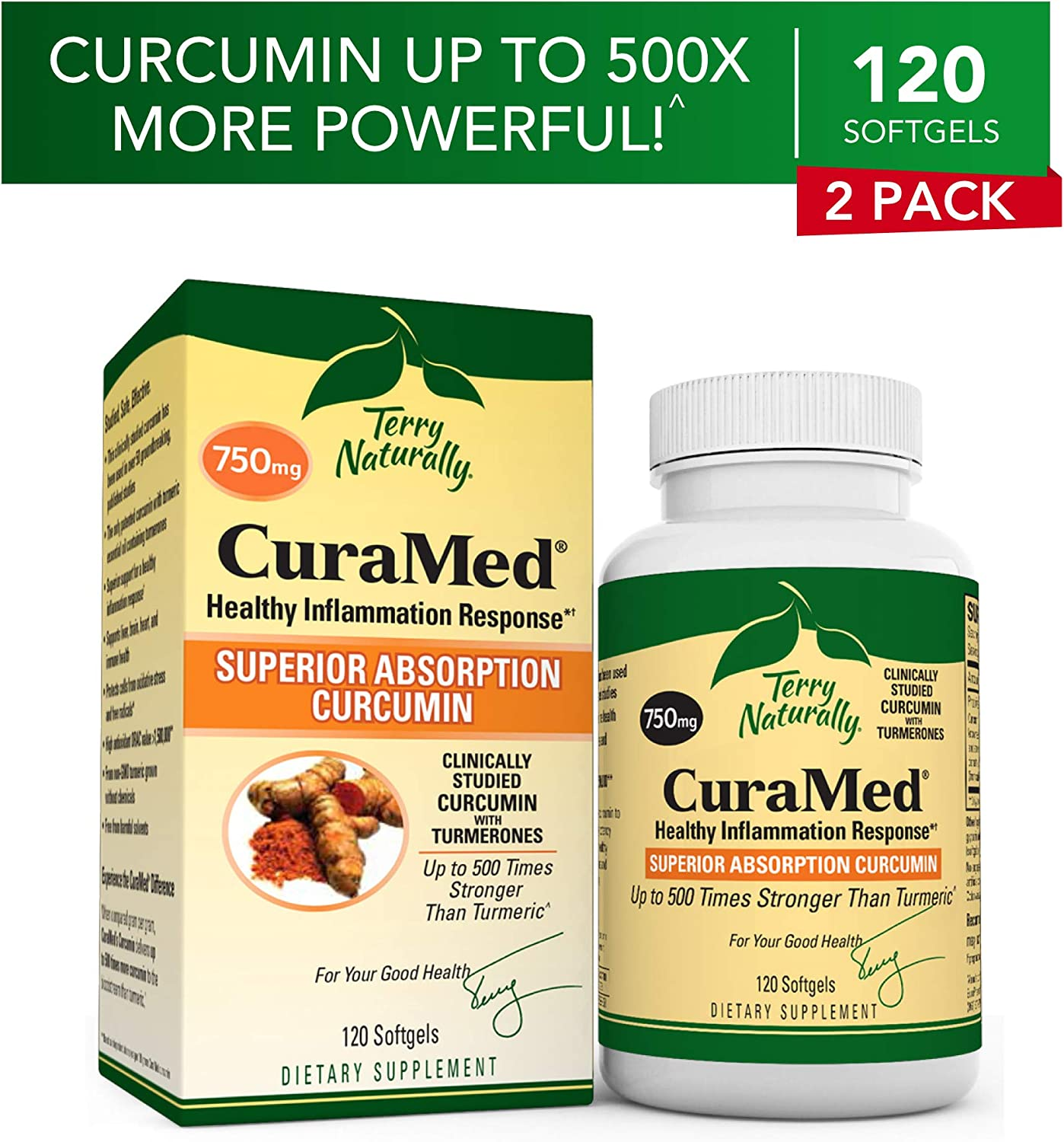 Terry Naturally CuraMed 750 mg 2 Pack – 120 Softgels – Superior Absorption BCM-95 Curcumin Supplement, Promotes Healthy Inflammation Response – Non-GMO, Gluten-Free, Halal – 240 Total Servings