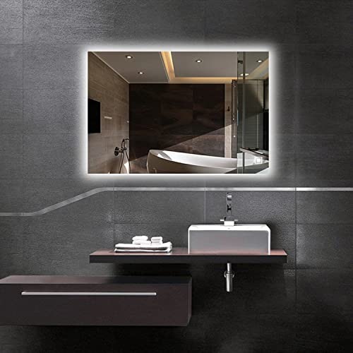 Hans Alice LED Backlit Mirror, Bathroom Lighted Makeup Mirror Dimmable, Anti Fog, Touch Screen and 90 CRI 32 x24