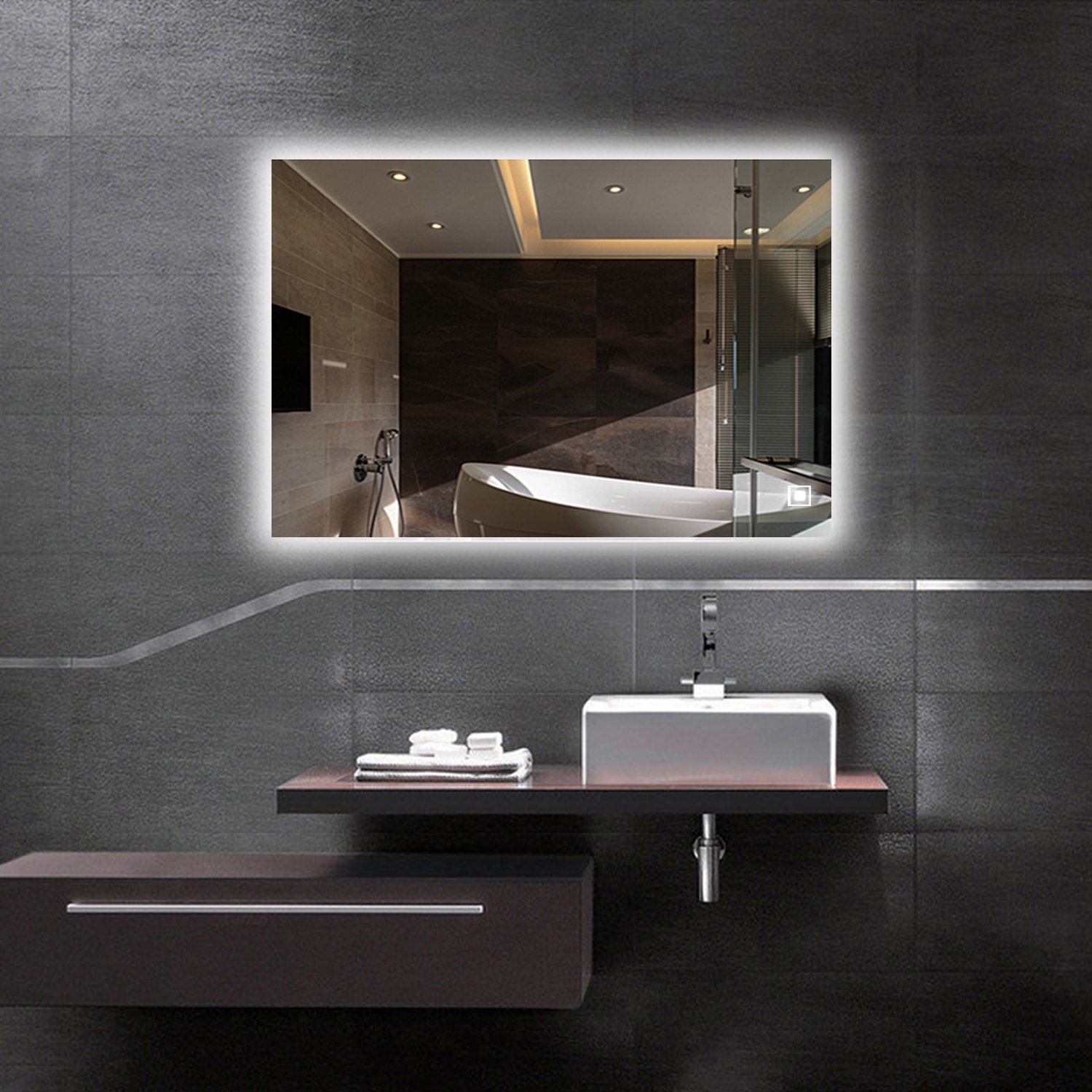 LED Backlit Mirror, Bathroom Lighted Makeup Mirror–Dimmable, Anti Fog, Touch Screen and 90+ CRI (32''x24'')
