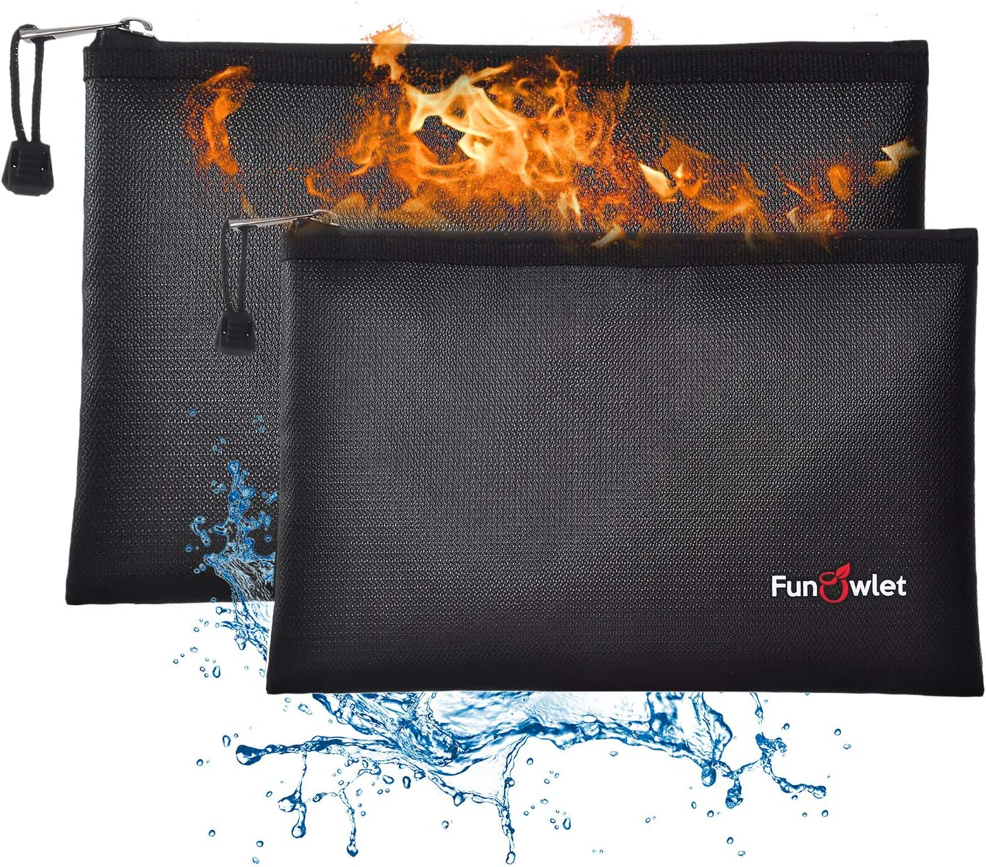 """Fireproof Safe Money Document Bags - 2 Pack 13.4"""" x 9.8"""" and 10.6"""" x 6.7"""" Waterproof Zipper Bag, Fire & Water Resistant Storage Organizer Pouch for A4 A5 Documents Holder,File,Cash,Passport,Tablet"""