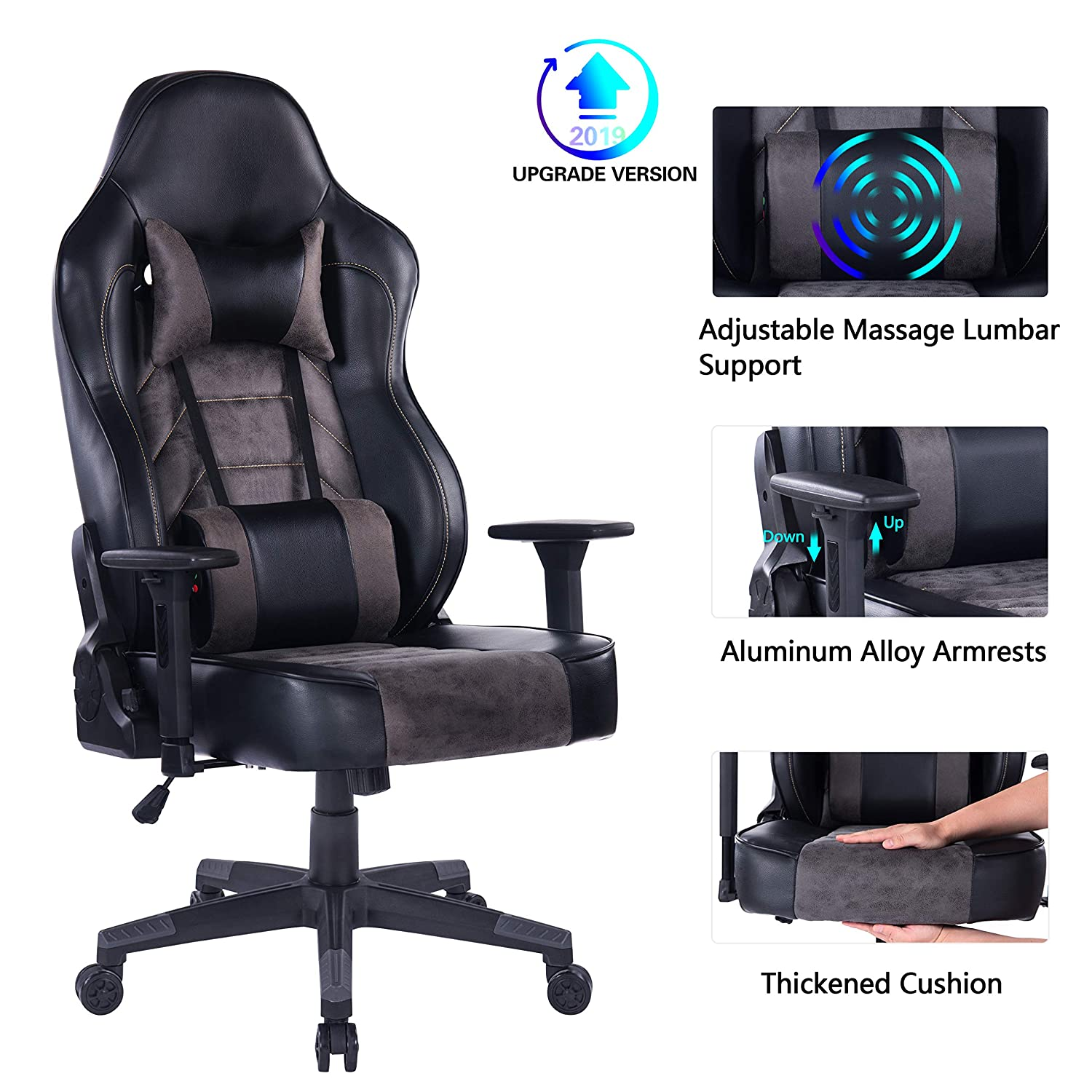 Blue Whale Gaming Chair with Massage Lumbar Pillow, PC Computer Video Game Racing Chair Reclining Executive Ergonomic Office Desk Chair with Headrest BW 291Grey