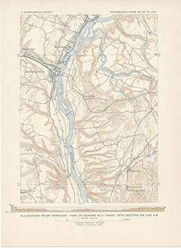 Cohoes New York 1908 Original Antique Lithograph United States - Us-map-1908