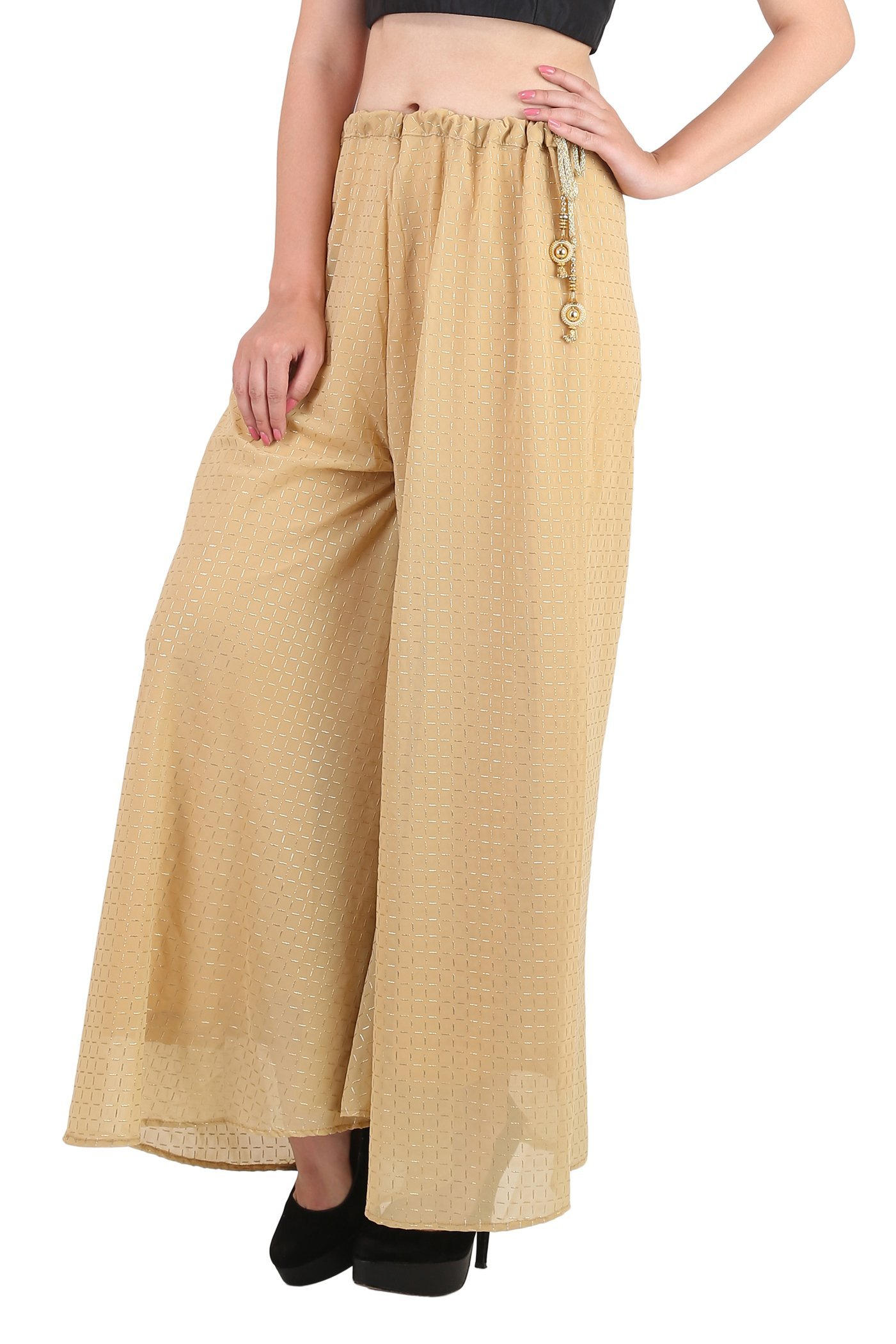 Shararat Women's Palazzo Pants Georgette Checks Print Loose High Waist Trouser