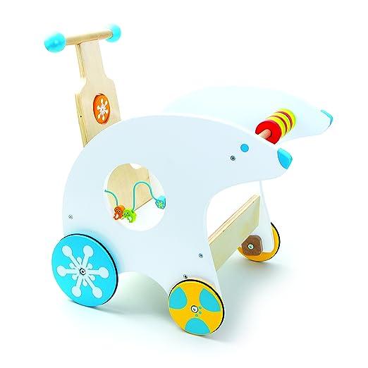 Cochecito andador oso polar andador con ruedas de goma,diversión lúdica multifuncional con bucle de motor integrado, desarrolla la motricidad fina, ...