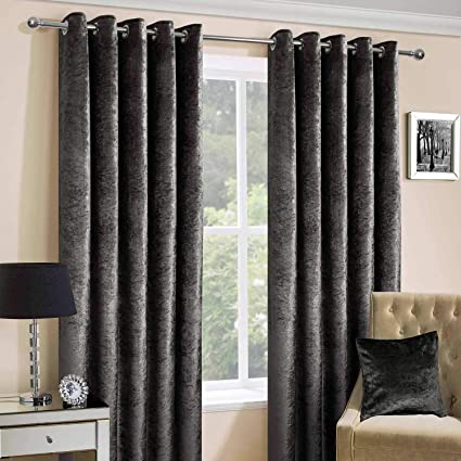 Homescapes Dark Grey Crushed Velvet Lined Curtain Pair 90 X 90 Inch Drop 228 X 228 Cm Luxury Heavy Weight Contemporary Neutral Eyelet Curtains Amazon Co Uk Kitchen Home
