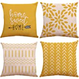 Pillow Covers 18x18 Set of 4, Modern Sofa Throw Pillow Cover, Decorative Outdoor Linen Fabric Pillow Case for Couch Bed Car 4