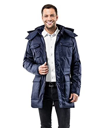 promo code 6d283 4935e Vincenzo Boretti Herren Winter-Jacke dick warm gefüttert Parka kuschelig  sportlich elegant Winter-Mantel Slim-fit tailliert lang für Outdoor  Business ...