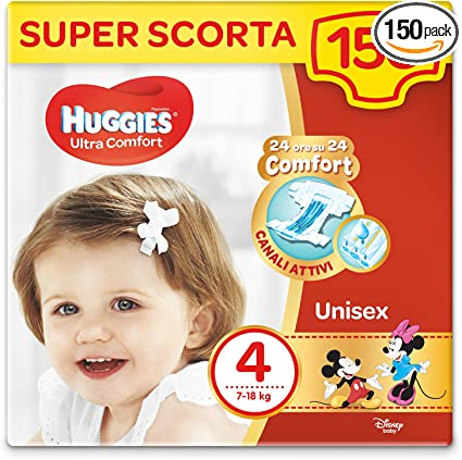 Pack 1 Mois Huggies Ultra Comfort 7-18 kg Couches B/éb/é Unisexe Taille 4 x150 Couches