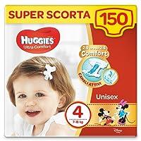 Huggies Pannolini Ultra Comfort, Taglia 4 (7-18 Kg), 100% cellulosa, Confezione da 150 Pannolini