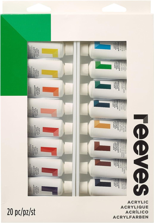 Reeves – Pintura acrílica – 22 ml, Colores Surtidos – Pack de 10, Multicolor, Materiales sintéticos, Pack de 20: Amazon.es: Hogar