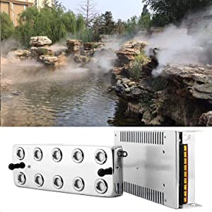 TTLIFE 10 Head Ultrasonic Mist Maker Fogger 250W 5KG/H Mist Maker Fogger Air Humidifier w/Transformer Accessories for Industrial Scenic Agriculture Greenhouse Hydroponics Garden/Lawn/Pond
