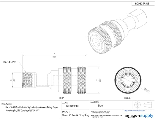 dixon 16 863 steel industrial hydraulic quick connect fitting Quick Connect Terminal dixon 16 863 steel industrial hydraulic quick connect fitting poppet valve coupler 1 coupling x 1 11 1 2 nptf quick connect hose fittings amazon