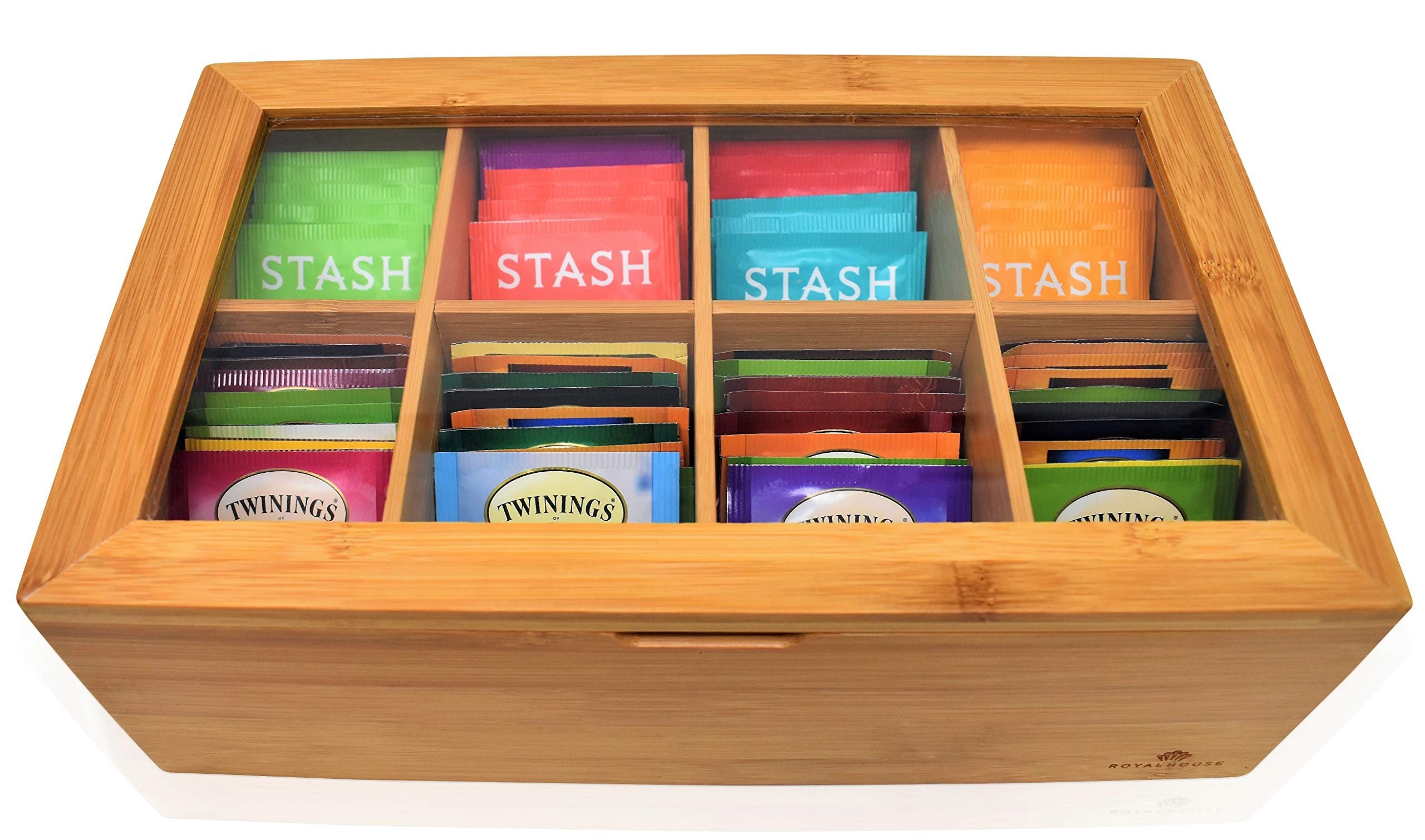 Big Natural Bamboo Tea Box Storage Organizer by RoyalHouse