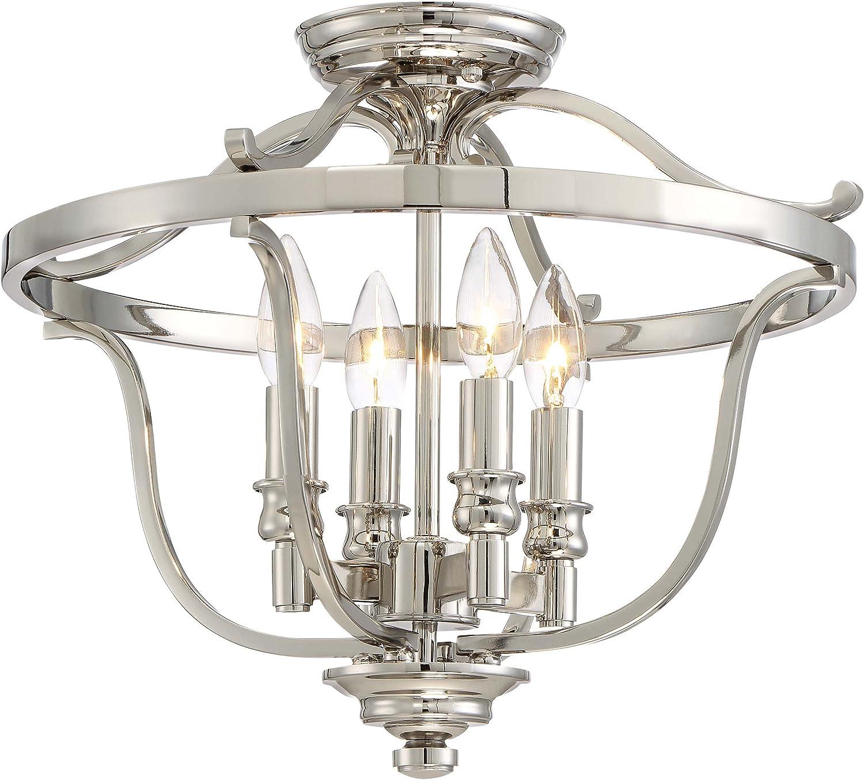 Minka Lavery Semi Flush Mount Ceiling Light 3296 613 Audrey S Point Lighting Fixture 4 Light 240 Watts Polished Nickel Amazon Com