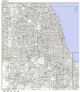 Amazon Com Cook County Illinois Zip Codes 36 X 48 Matte