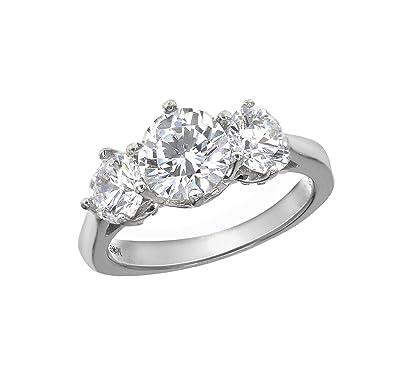28092c525 Myia Passiello Essentials Swarovski Zirconia Three Stone Clear Ring -  R3086901 - Size M: Amazon.co.uk: Jewellery
