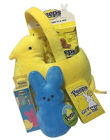 Amazon plush peeps chick easter basket gift with mini plush plush peeps chick easter basket gift with mini plush bunny peep marshmallow candy ear negle Images