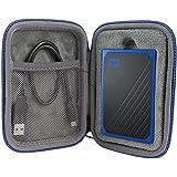 co2crea Hard Travel Case for WD My Passport Go Cobalt SSD 500G / 1TB Portable External Storage (Black Case + Blue Zipper)