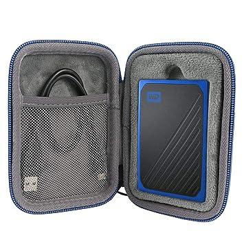 co2CREA Duro Viajar Fundas Caso Cubrir Estuche para WD My Passport Go 500GB / 1TB, Disco Duro sólido Externo (Travel Case) (Azul Cremallera)